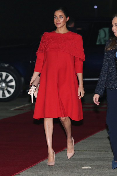 Meghan Markle Maternity Dress [clothing,fashion model,shoulder,dress,fashion,red,footwear,cocktail dress,joint,leg,dress,meghan,fashion,model,fashion model,runway,sussex,duchess,casablanca airport,duke and duchess of sussex visit morocco,meghan duchess of sussex,model,fashion,dress,fashion show,milan fashion week,celebrity,runway]