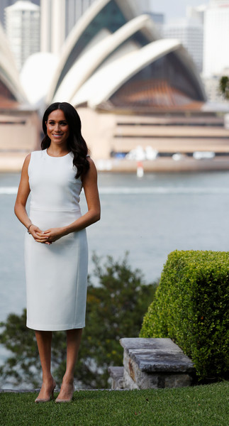 Meghan Markle Midi Dress [white,clothing,photograph,dress,shoulder,beauty,fashion,standing,cocktail dress,footwear,meghan,australia,sussex,duchess,cities,admiralty house,duke and duchess of sussex visit,duke,welcome event,tour]