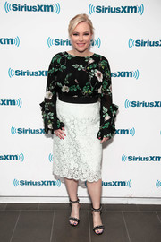 Meghan McCain amped up the feminine vibe with a white lace pencil skirt.