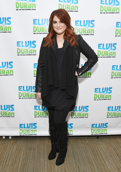 Meghan Trainor Knee High Boots [the elvis duran z100 morning show,clothing,green,suit,outerwear,footwear,formal wear,photography,carpet,blazer,style,meghan trainor,coverage,new york city,z100 studio]