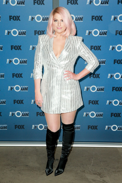Meghan Trainor Over the Knee Boots [the four: battle for stardom,season,clothing,boot,footwear,knee-high boot,joint,dress,knee,fashion,riding boot,electric blue,arrivals,meghan trainor,radford,california,studio city,fox,premiere,premiere]