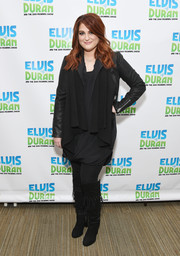 Meghan Trainor finished off her cold-weather look with tasseled black suede boots.