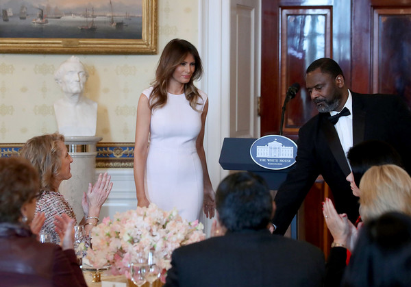 Melania Trump Form-Fitting Dress [melania trump,governors,spouses,president,photograph,ceremony,event,wedding,dress,bride,wedding dress,marriage,gown,fashion,governor spouses luncheon,luncheon,meeting,town,blue room,white house]