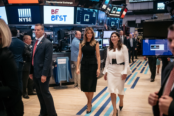 Melania Trump Little Black Dress [melania trump rings opening bell,melania trump,stacey cunningham,first lady,students,r,trading floor,initiative,bell,event,premiere,flooring,new york stock exchange]