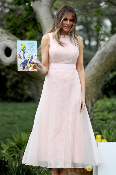 Melania Trump Maxi Dress [party animals,clothing,dress,white,gown,lady,shoulder,bridal party dress,fashion model,beauty,a-line,melania trump,trump,rutherford b. hayes,eggs,white house,lawn,u.s.,south lawn,easter egg roll]