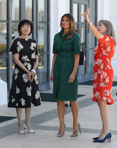 Melania Trump Shirtdress [akie abe,melania trump,erin manning,donald trump,visit,shinzo abe,first lady,clothing,dress,green,fashion,standing,footwear,leg,shoulder,event,human leg,japanese,flagler museum,u.s.]
