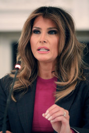 Melania Trump attended a roundtable discussion on cyberbullying wearing her hair in a loose wavy style.