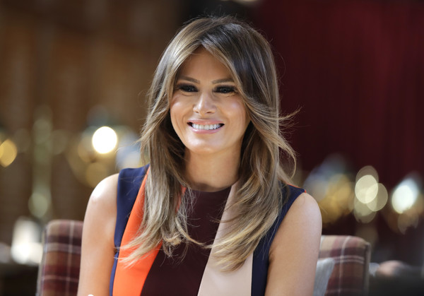 Melania Trump Layered Cut [hair,face,facial expression,beauty,blond,hairstyle,lady,smile,long hair,lip,the first lady of the united states,donald trump,melania trump,seat,chelsea pensioners,u.s.,london,england,visit,talks]