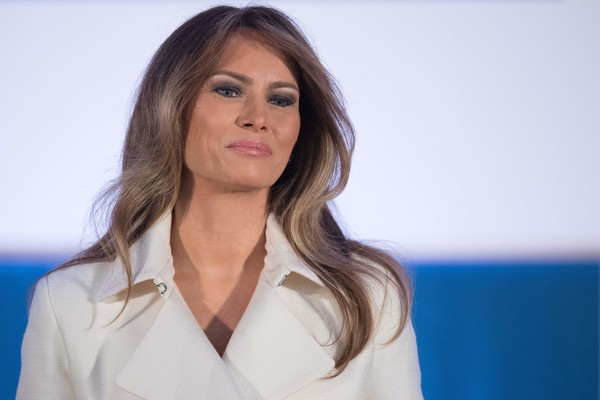 Melania Trump Long Wavy Cut [photo,hair,face,lip,blond,businessperson,white-collar worker,long hair,brown hair,television presenter,melania trump presents international woman of courage award,melania trump,international women of courage,jim watson,washington dc,state department,afp,ceremony]