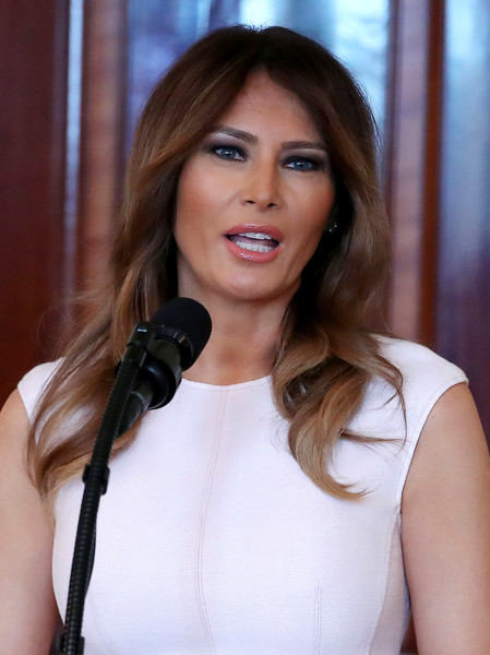 Melania Trump Long Wavy Cut [melania trump,governors,spouses,president,beauty,human hair color,hairstyle,fashion model,long hair,shoulder,girl,brown hair,black hair,smile,governor spouses luncheon,luncheon,meeting,town,blue room,white house]