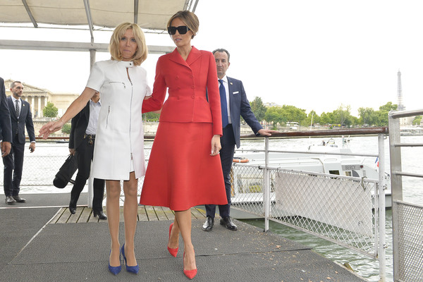 More Pics of Brigitte Macron Pumps (1 of 32) - Brigitte Macron Lookbook - StyleBistro [white,street fashion,red,clothing,fashion,lady,footwear,snapshot,dress,outerwear,melania trump,donald trump,brigitte macron,dock,l-r,paris,united states,river,day one,boat ride]