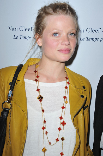 Melanie Thierry Layered Gemstone Necklace [van cleef arpels flagship opening cocktail place vendome,hair,hairstyle,yellow,fashion,blond,religious item,outerwear,long hair,fashion accessory,jewellery,paris,france,melanie thierry]