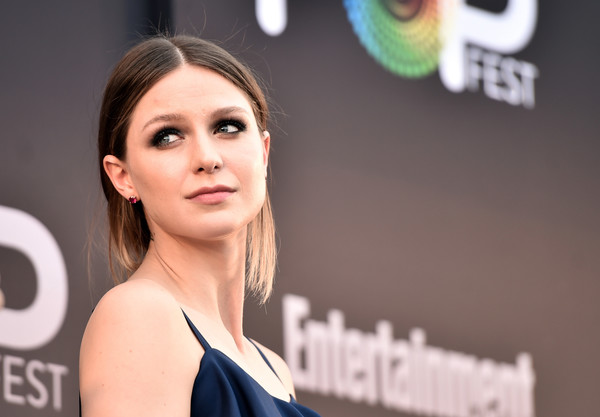 Melissa Benoist Loose Ponytail [face,hair,skin,beauty,head,eyebrow,hairstyle,shoulder,chin,cheek,melissa benoist,cw superheroes,california,los angeles,the reef,entertainment weekly,popfest,panel]