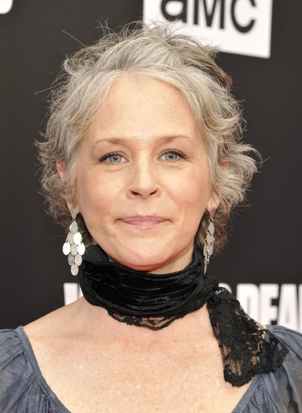 Melissa McBride Messy Cut [the walking dead,hair,face,hairstyle,eyebrow,blond,chin,lip,neck,forehead,hair coloring,melissa mcbride,talking dead live,hollywood forever,california,amc,premiere]