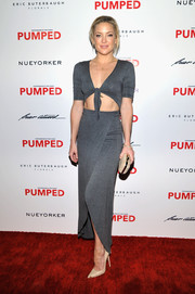 Kate Hudson put her super-toned physique on display in a midriff-baring gray dress by NextShe during Brian Atwood's celebration of PUMPED.