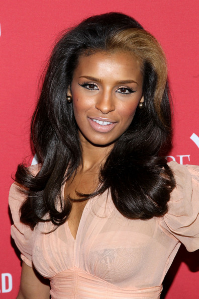 Melody Thornton Cat Eyes [photo,hair,hairstyle,eyebrow,long hair,black hair,chin,lip,forehead,brown hair,layered hair,arrivals,melody thornton,mary j blige,mark davis,red,belvedere,avalon,party,getty images]