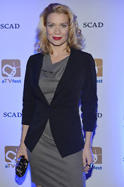 Laurie Holden chose a classic black blazer to pair with her gray dress at the aTVfest event.