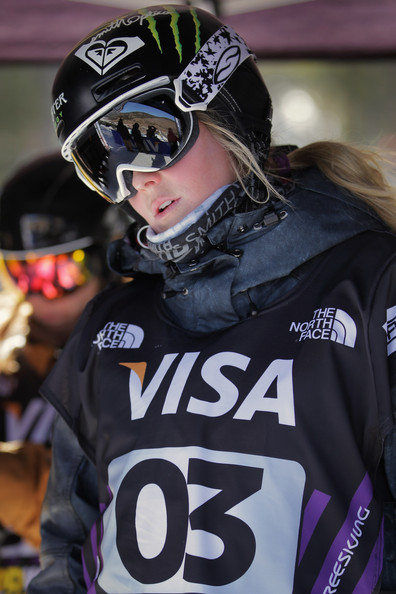 Sarah Burke prepares for her next run in the Freestyle World Cup.