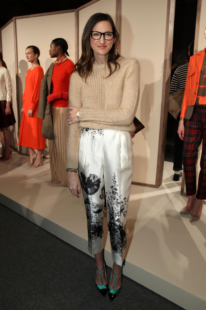 J. Crew Creative Director Jenna Lyons poses on the runway at the J.Crew Fall 2012 Presentation during Mercedes-Benz Fashion Week at Lincoln Center on February 14, 2012 in New York City.