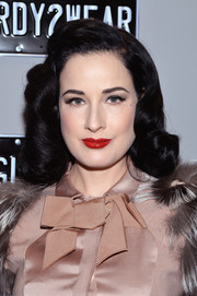 Dita Von Teese was spotted during Mercedes-Benz Fashion Week wearing her trademark retro-glam waves.