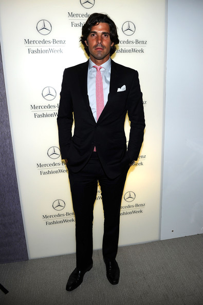 Nacho Figueras wore a traditional black suit but injected a bit of color with a pink tie and a blue button-down during Mercedes-Benz Fashion Week.