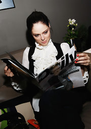 Coco Rocha wore bold red nail polish during the 2010 Mercedes-Benz fashion week.