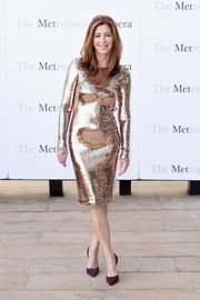 Dana Delany was a style standout in a figure-hugging gold sequin dress at the Met Opera opening performance of 'Tristan und Isolde.'