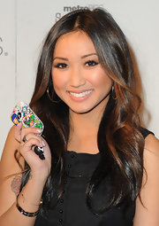 Brenda Song wore sexy sweeps of shimmery eyeliner at the launch of MetroPCS' Huawei M835.