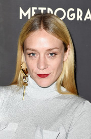 Chloe Sevigny opted for a loose straight hairstyle when she attended the Metrograph Theater 1st anniversary party.