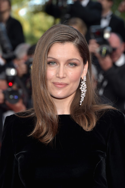 Laetitia Casta opted for a simple yet elegant side-parted hairstyle when she attended the Cannes Film Festival screening of 'The Meyerowitz Stories.'