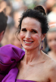Andie MacDowell attended the Cannes Film Festival screening of 'The Meyerowitz Stories' wearing her hair in a messy bun.
