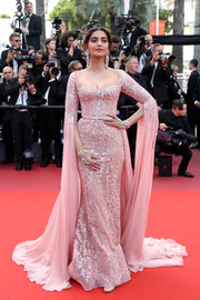 Sonam Kapoor looked resplendent in a beaded pink Elie Saab Couture gown with floor-sweeping sleeves at the Cannes Film Festival screening of 'The Meyerowitz Stories.'