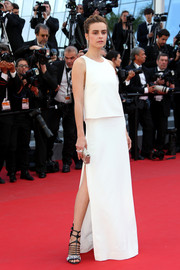 Kasia Smutniak went the minimalist route in a sleeveless white bodice-overlay gown at the Cannes premiere of 'Mia Madre.'