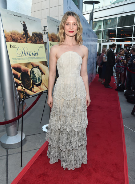 Mia Wasikowska Strapless Dress [dress,red carpet,gown,fashion model,clothing,carpet,shoulder,premiere,strapless dress,flooring,damsel,mia wasikowska,arclight hollywood,california,magnolia pictures,red carpet,premiere]