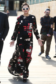 Marion Cotillard covered up in a geometric-patterned maxi dress by Audra for the 'Assassin's Creed' photocall in Sydney.