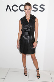 Nina Agdal looked seriously stylish in a black leather vest dress by Michael Kors during the brand's Access Smartwatch launch.