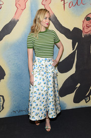 Emily Blunt made clashing prints look cute with this striped knit top and floral skirt combo.