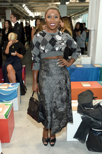 Cynthia Erivo paired her top with a gray brocade skirt, also by Michael Kors.