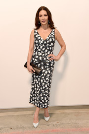 Catherine Zeta-Jones looked dainty in a floral midi dress by Michael Kors during the brand's Spring 2019 show.