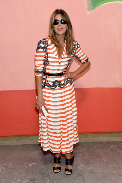 Nina Garcia looked breezy in a striped shirtdress by Prada at the Michael Kors Spring 2019 show.