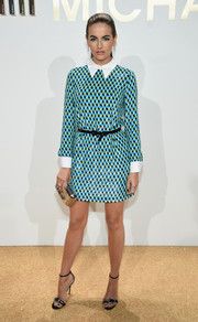 Camilla Belle was preppy-chic in a collared geometric-patterned mini dress by Michael Kors during the brand's fragrance launch.