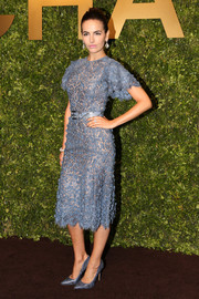 Camilla Belle matched her dress with a pair of blue python pumps.