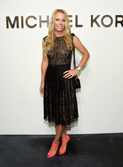 Caroline Wozniacki donned a classic paisley LBD for the Michael Kors fashion show.