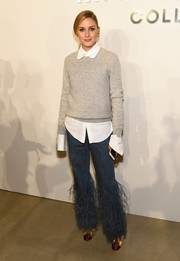 Fringed jeans rounded out Olivia's ultra chic look.