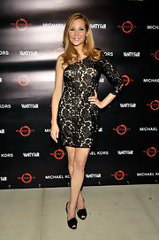 Jennifer Westfeldt completed her sophisticated ensemble with a pair of black peep-toes.