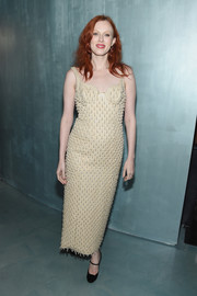 Karen Elson kept it classic in a pearl-embellished nude dress at the Michael Kors x 10 Corso Como dinner.
