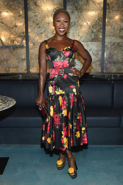 Cynthia Erivo complemented her dress with a pair of printed T-strap platforms.