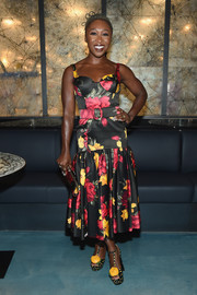 Cynthia Erivo went the feminine route in a floral midi dress at the Michael Kors x 10 Corso Como dinner.