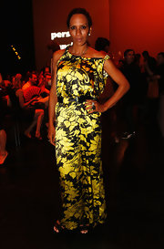 Barbara Becker looked stunning in a floral satin dress at the Michalsky Style Nite.