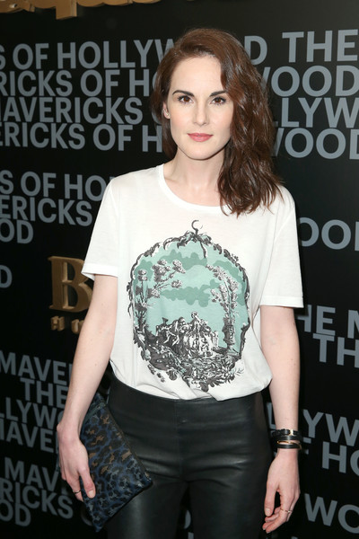 Michelle Dockery Leather Bracelet [clothing,shoulder,fashion,beauty,joint,hairstyle,t-shirt,cool,premiere,footwear,james corden,esquire celebrates march cover star,michelle dockery,hollywood,sunset tower hotel,west hollywood,mavericks of hollywood,hugo boss,esquire,celebration]